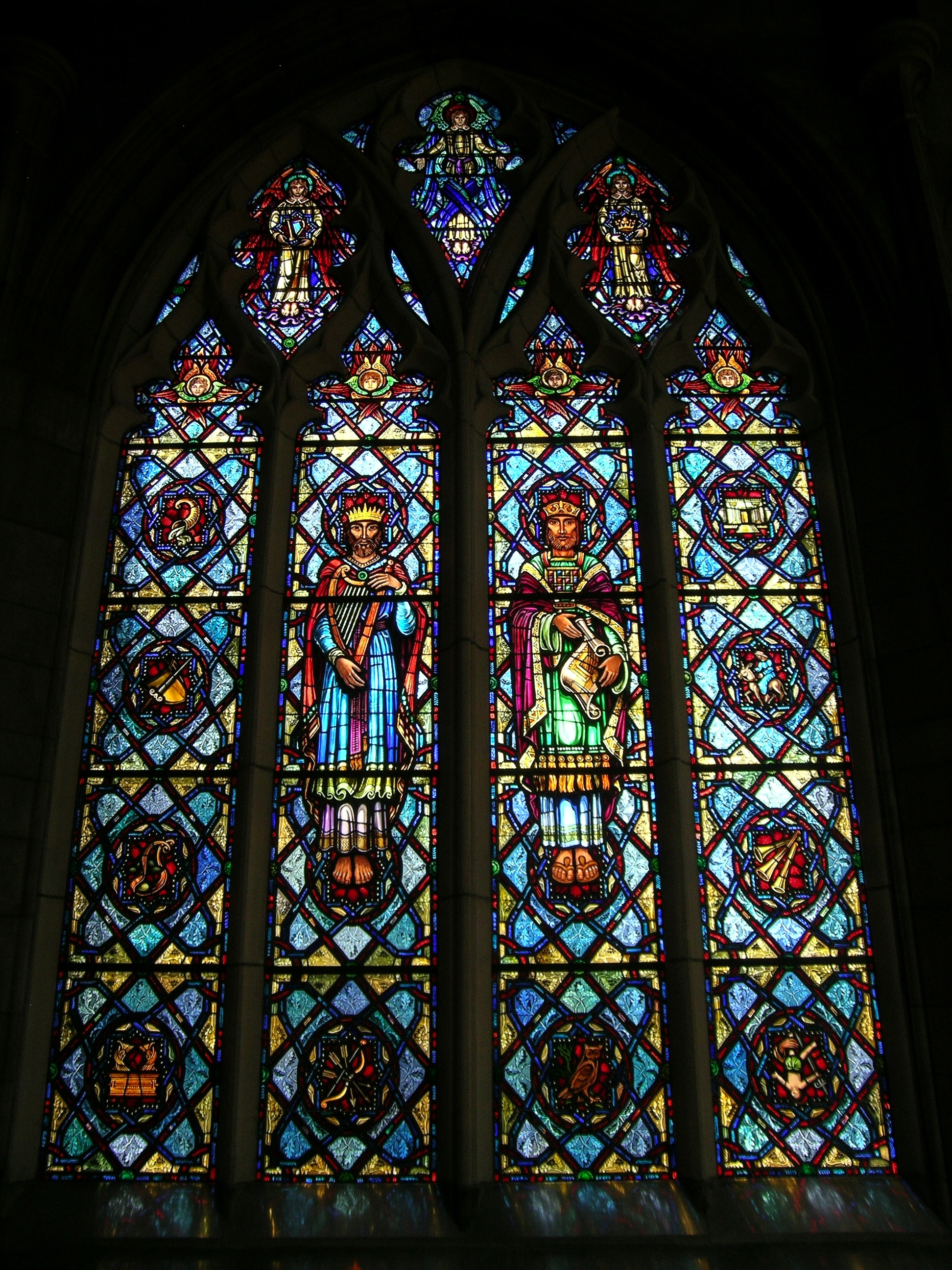 front view of four panel window with kings